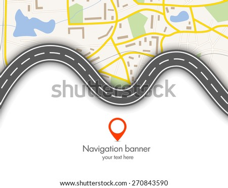 Abstract  gps navigation vector banner with map  - stock vector