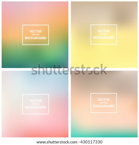 Abstract gradient set colorful blurred vector background. Vector blur background template.  - stock vector