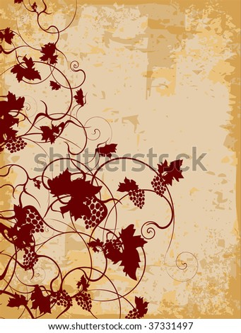 Abstract grapevine design on antique paper - stock vector