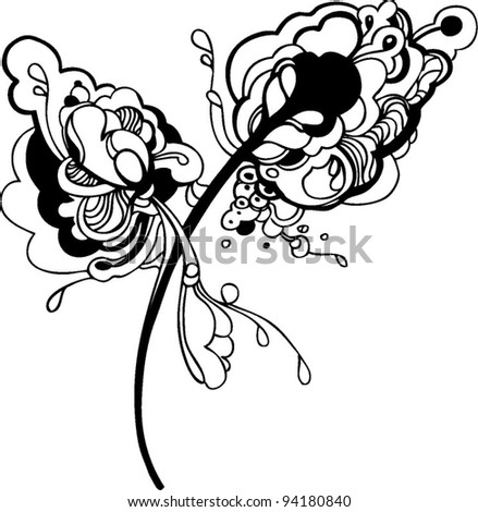 abstract graphic design in black and white - stock vector