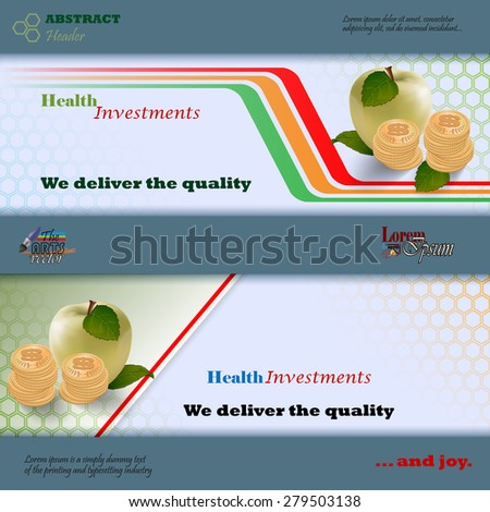 Abstract graphic, design web banner; Header layout template; Set of banners with apples, roll of money on geometric design and space for text. - stock vector