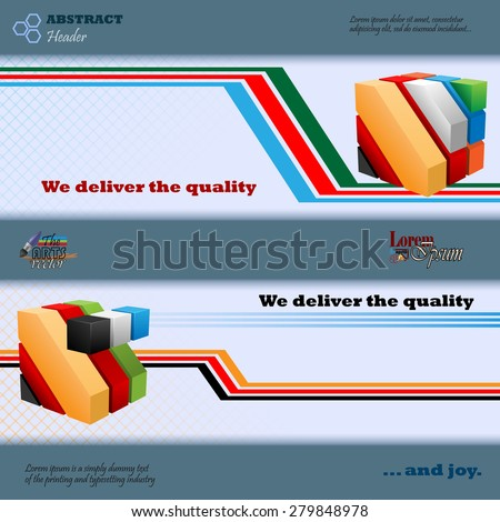 Abstract graphic, design web banner; Header layout template; Set of banners with colorful cubes, geometric shapes and space for text.  - stock vector
