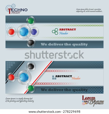 Abstract graphic, design web banner; Header layout template; Set of banners with colorful spheres in glass button/sphere on geometric design and space for text. - stock vector