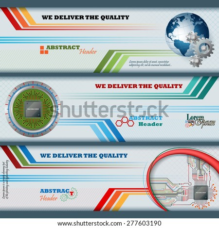 Abstract graphic, design web banner; Header layout template; Set of banners with electronic circuits, processor chip, earth globe with cogwheels, and space for text.  - stock vector