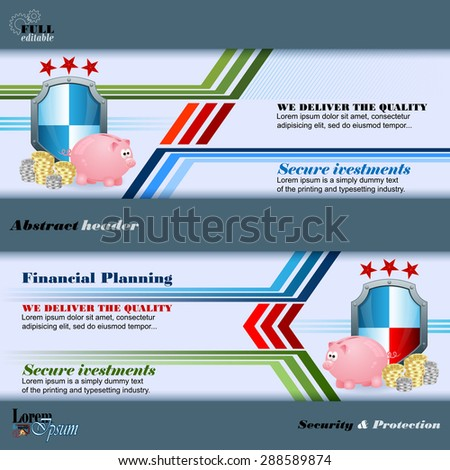 Abstract graphic, design web banner; Header layout template; Set of banners with piggy bank, roll of money and security shield on geometric design and space for text. - stock vector