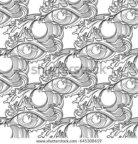 Abstract Graphic Eye Decorated Storm Waves Stock Vector 645308659 ...