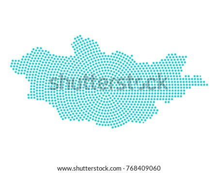 Abstract Graphic Mongolia Map Blue Round Stock Vector - Mongolia map vector