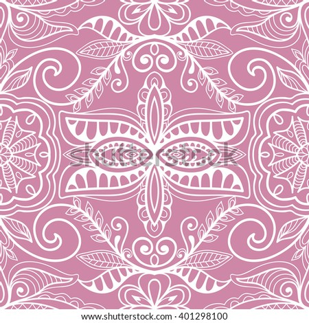 Abstract graphic purple and white background, seamless lace pattern, repeating floral geometric texture. Tribal ethnic ornament, hand drawn doodle sketch vector illustration.  - stock vector