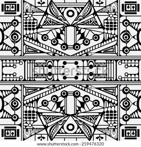 Abstract graphic seamless pattern, hand drawn geometric background, black and white vector illustration - stock vector
