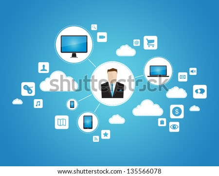 Abstract graphic vector concept of businessman using cloud computing network with technology devices. Isolated on blue background - stock vector