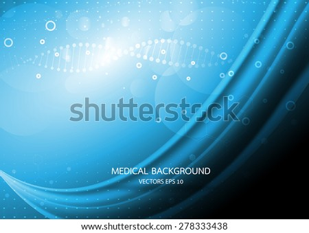 Abstract graphics molecules medical in blue background. Vector - stock vector