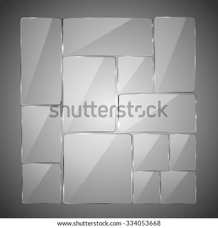 Abstract gray background with glowing glass panels, illustration.  - stock vector