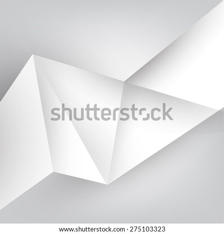 Abstract gray banner paper origami labels