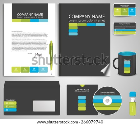 Abstract gray business style (corporate identity) template 7: blank, card, pen, cd, note-paper, envelope, flash memory - stock vector