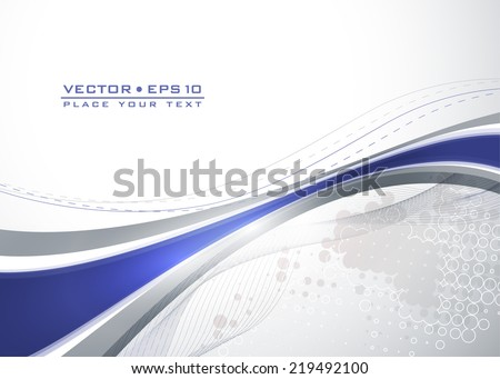 Abstract gray template with blue wavy lines. Vector - stock vector