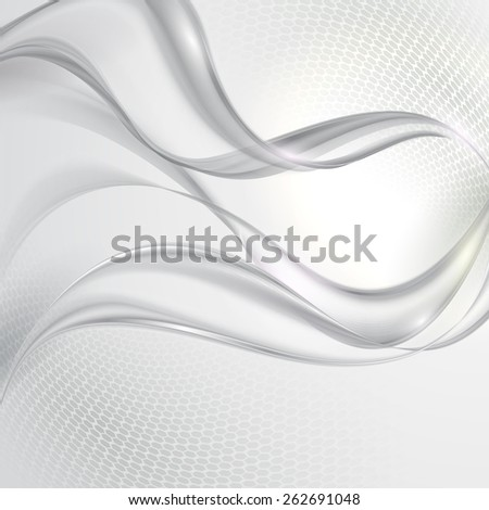 Abstract gray transparent wave background - stock vector