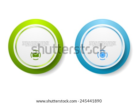 Abstract green and blue circle stickers. Vector design - stock vector
