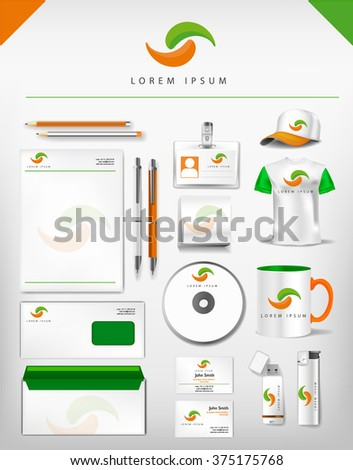 Abstract green and orange logo and corporate identity template realistic set of cups, business card, letterhead, envelope, drive, usb memory sticks and pen. Vector illustration