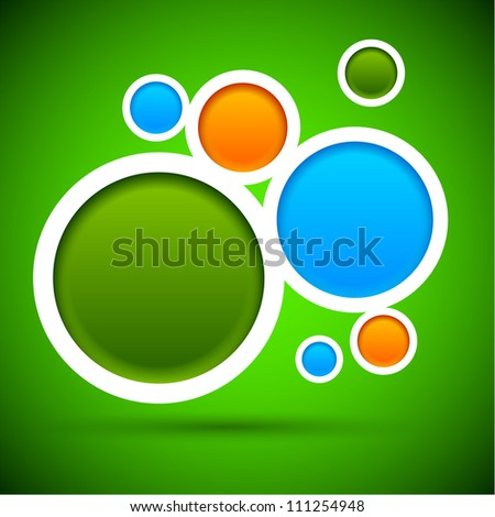 Abstract green background contains of round bubbles. Vector eps10.