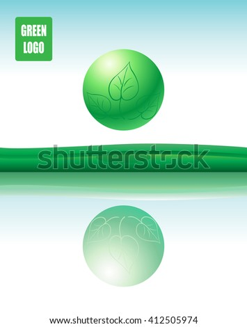 Abstract green background. Green ball with green leaves logo and reflection. Vector Illustration. Eco concept. Template for art, Print, Web design. world environment day. - stock vector