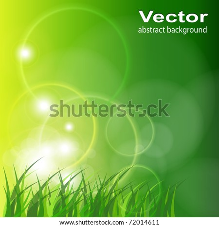 Abstract green background, sunny spring vector illustration. - stock vector