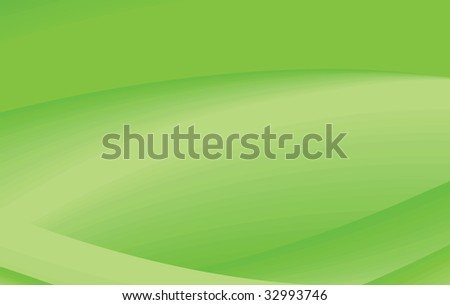 Abstract Green Background with Light Yellow Waves - Vector