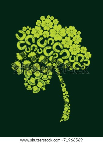abstract green background with patrick day elements pattern isolated shamrock - stock vector