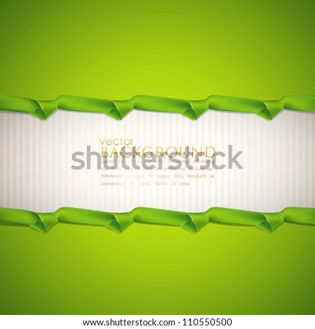abstract green background with ribbons - stock vector