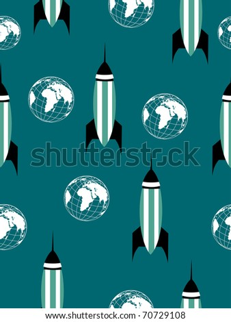 abstract green background with rocket, globe, vector science wallpaper - stock vector