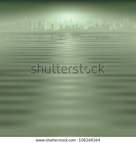abstract green background with silhouette of city - stock vector