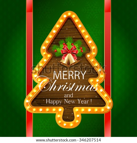 Abstract green background with snowflakes, retro lights on wooden banner in the form of Christmas tree, golden bells with red bow, holly berry, and fir tree branches, illustration. - stock vector