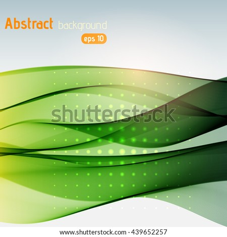 Abstract green background with swirl waves. Eps 10 vector illustration