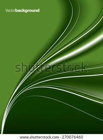 Abstract green background with wavy lines. - stock vector