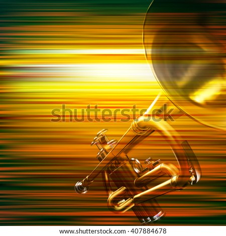abstract green blur music background with trumpet