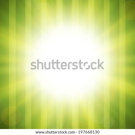 Abstract green blurry background with overlying semi transparent circles, light effects and sun burst. Vector. EPS10 - stock vector