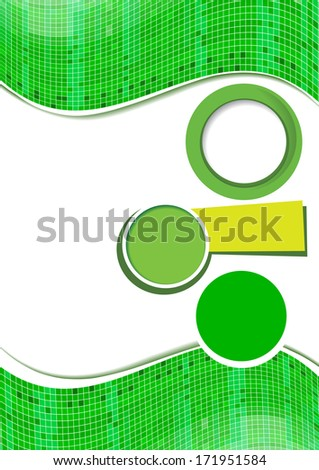 Abstract green brochure background. Design layout template.