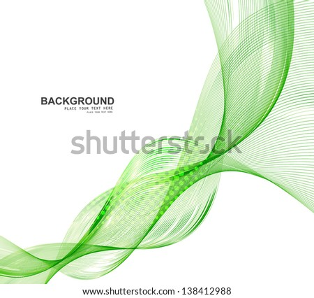 abstract green business line wave vector whit background - stock vector
