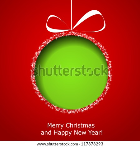 Abstract green Christmas ball cutted from paper on red background. Vector eps10 illustration