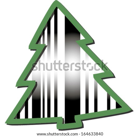 Abstract green Christmas tree barcode. Usable for Consumerism concept. Vector Illustration