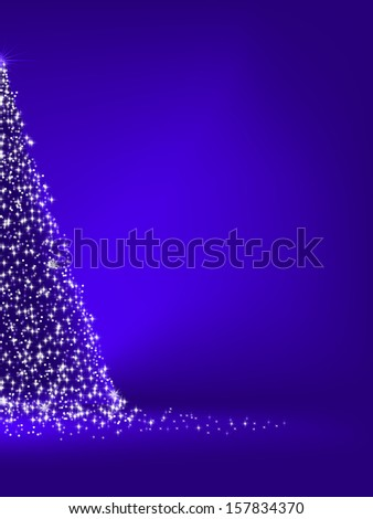 Abstract green christmas tree on blue background. EPS 10 vector file included - stock vector