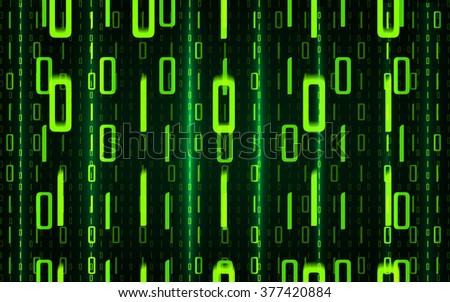 Abstract green coding background. Binary hacker code concept. Bright glow  symbols on a dark background. Vector illustration.