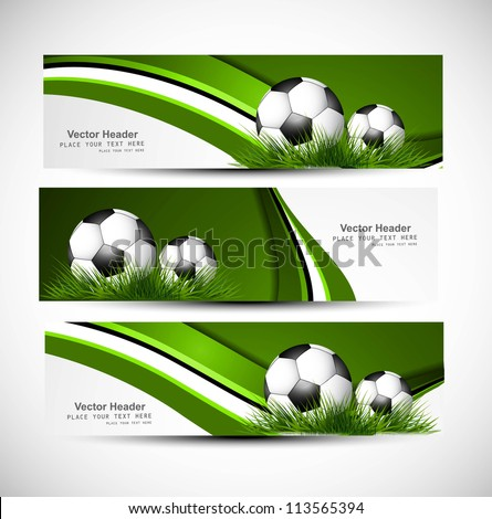 abstract green colorful headers soccer ball set wave vector whit - stock vector