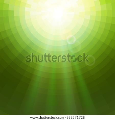 Abstract Green concentric circle shine mosaic vector background. Technology concept wallpaper. - stock vector