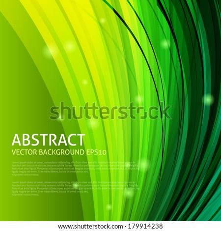 Abstract green curves background - stock vector