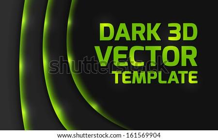 Abstract green dark 3d design background  - stock vector