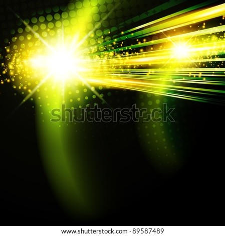 abstract green disco background with star - stock vector