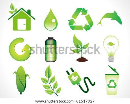 abstract green eco icons set  vector illustration