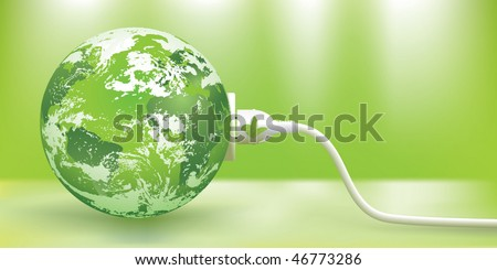 abstract green energy concept with green Earth - stock vector