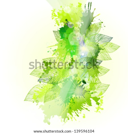 Abstract green foliage - stock vector