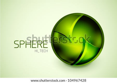 Abstract green glass hi-tech sphere concept - stock vector